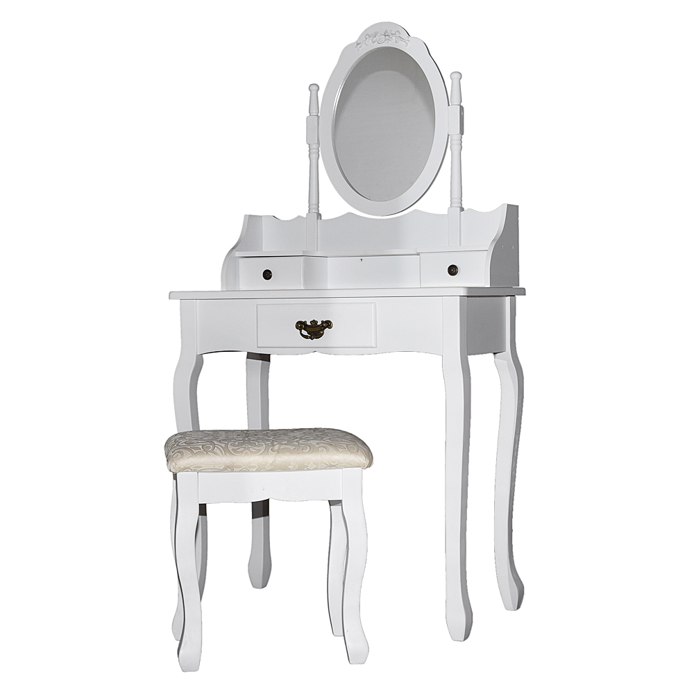White Dressing Table Makeup Desk And Stool Set With Mirror