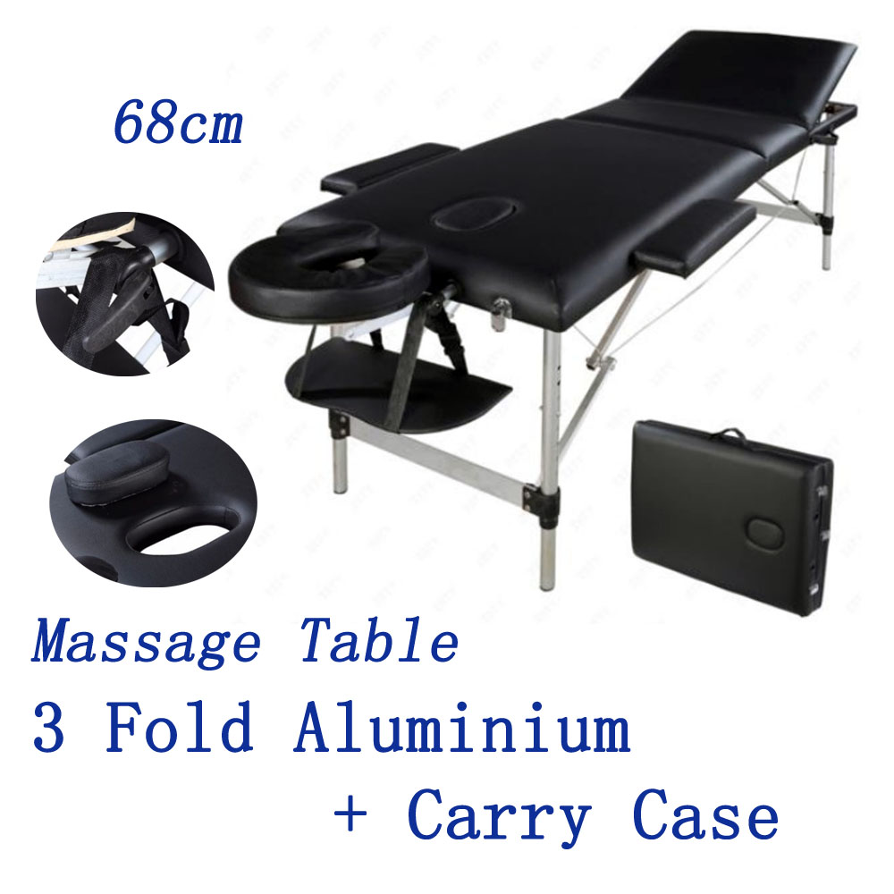 68cm portable aluminium massage table 3 section therapy for Mobile beauty therapist table